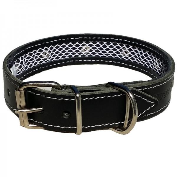 2-in-1 Hundehalsband - Leder Schwazr