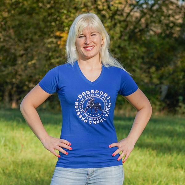 "Damen-T-Shirt ""Dogsport  More Than A Passion"" - Königsblau"