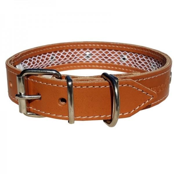 2-in-1 Hundehalsband - Leder Braun